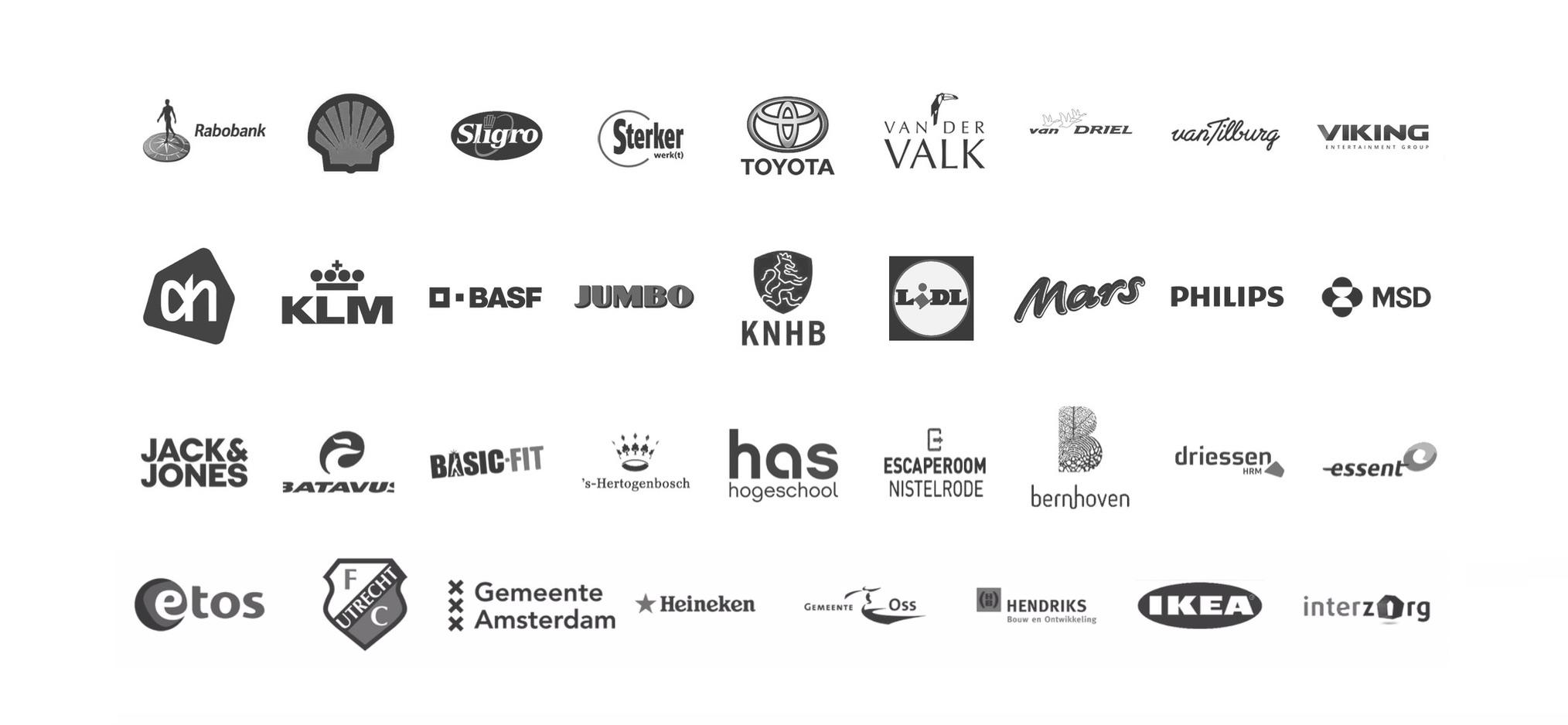 Logo's van bedrijven die deel namen aan een Percussie4Fun workshop